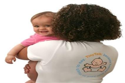Tiny Talk sign language holding baby